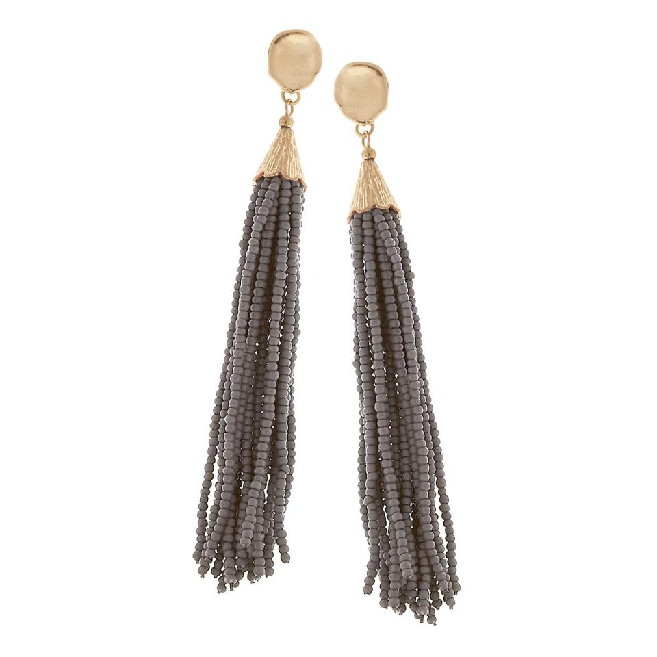 Beaded Tassel Earrings in Grey