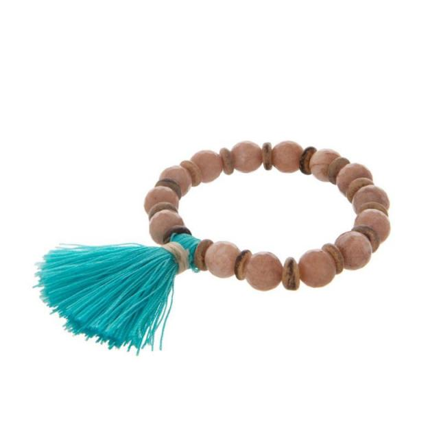 Beaded Tassel Bracelet in Teal & Tan