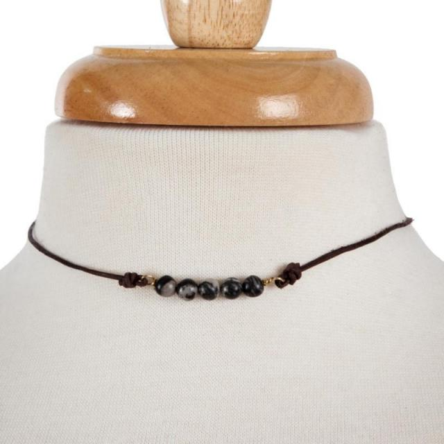 Beaded Cord Choker in Grey