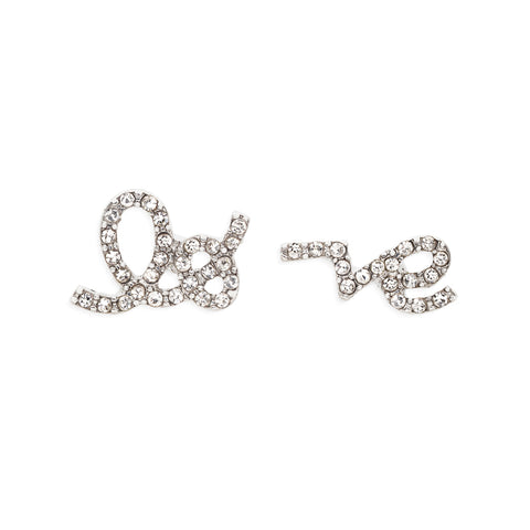 Love Script Studs in Silver