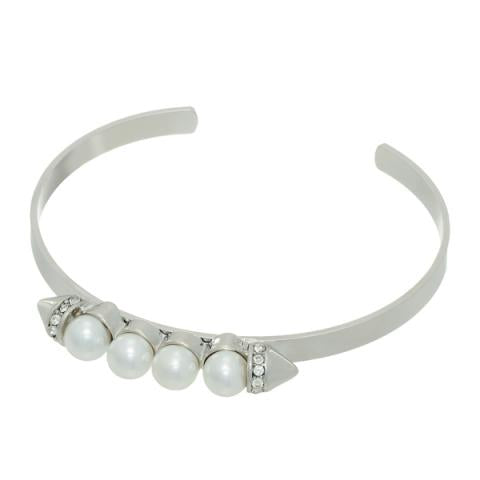 Pearl Spike Stackable Bangle Bracelet in Silver