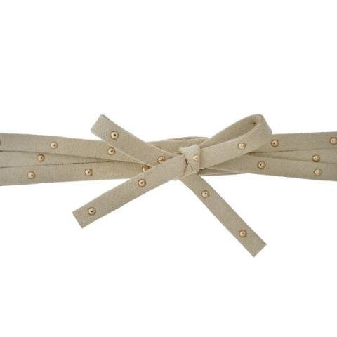 Studded Suede Wrap Choker in Tan