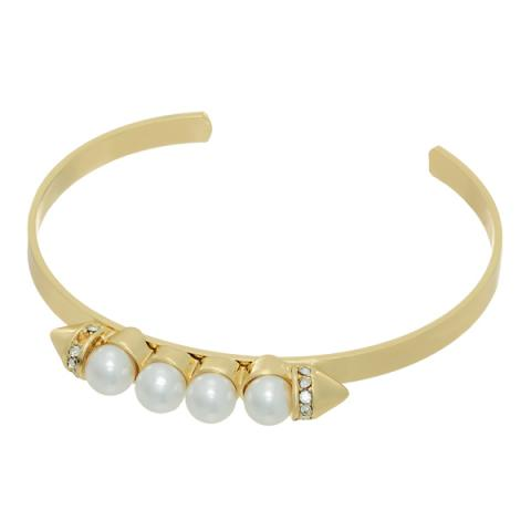 Pearl Spike Stackable Bangle Bracelet in Gold