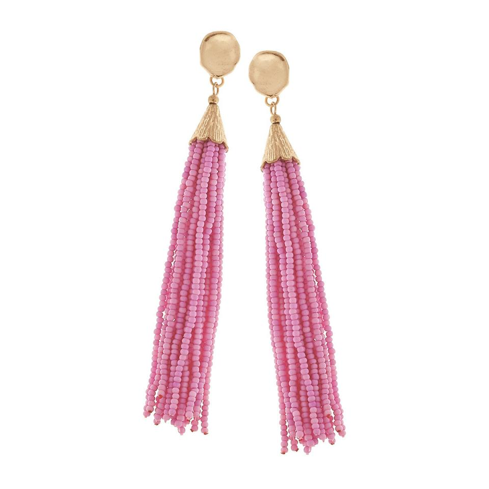 Beaded Tassel Earrings in Light Pink