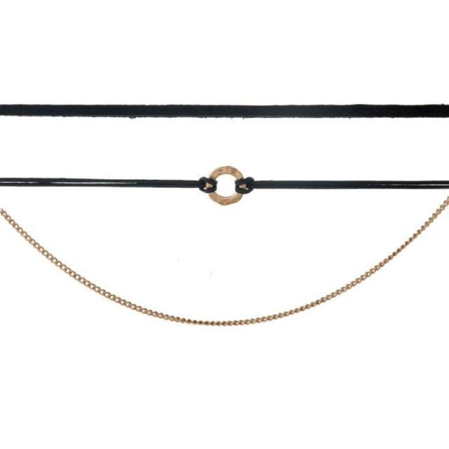Layered Three Row Circle Choker in Black