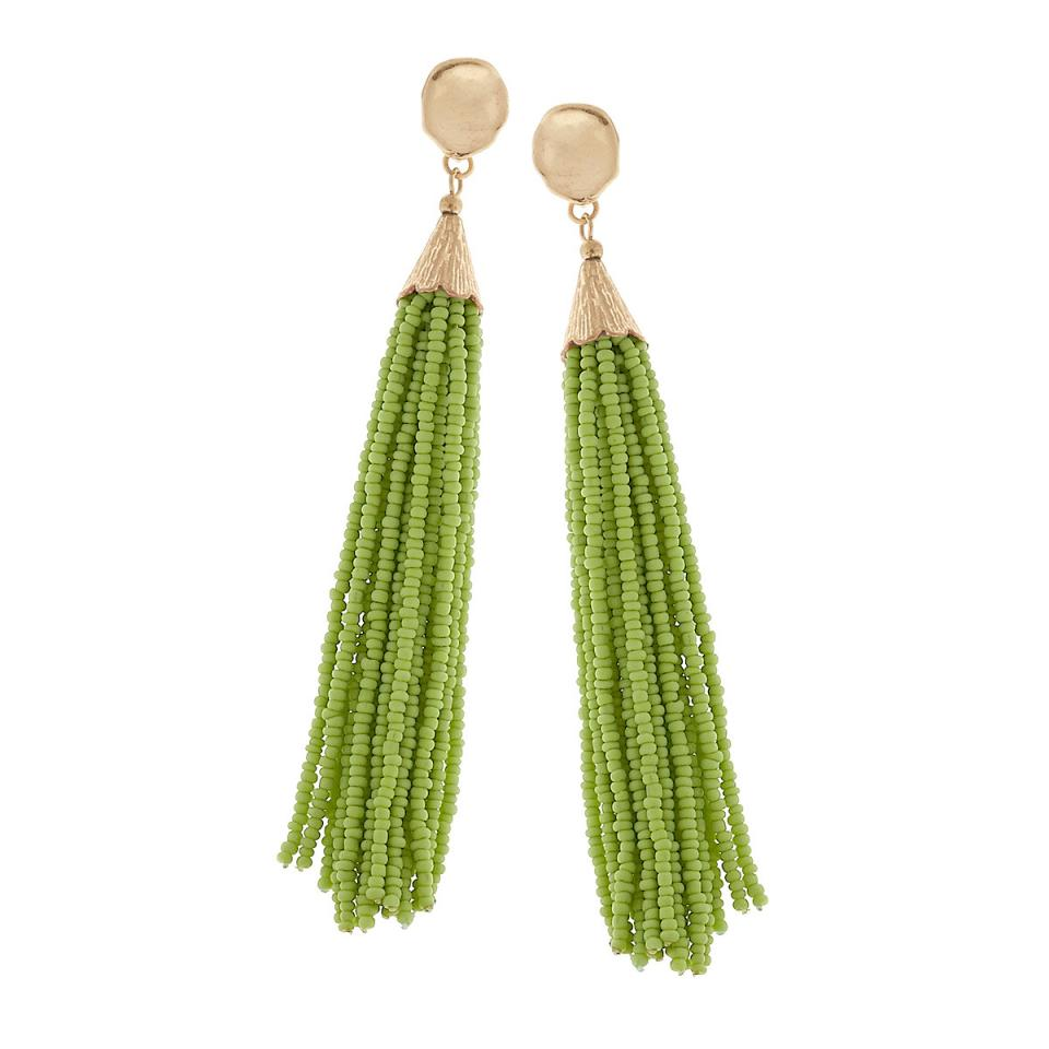 Beaded Tassel Earrings in Spring Green