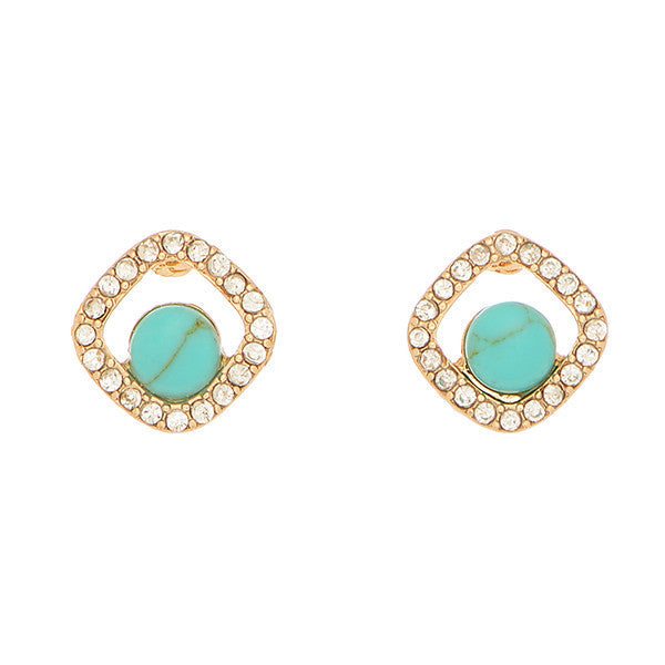 6 Pack - Turquoise & Crystal Studs