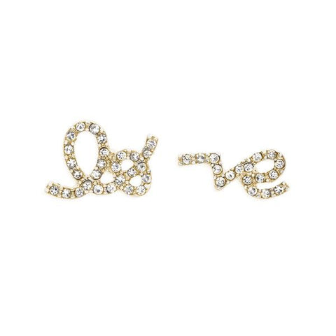 Love Script Studs in Gold