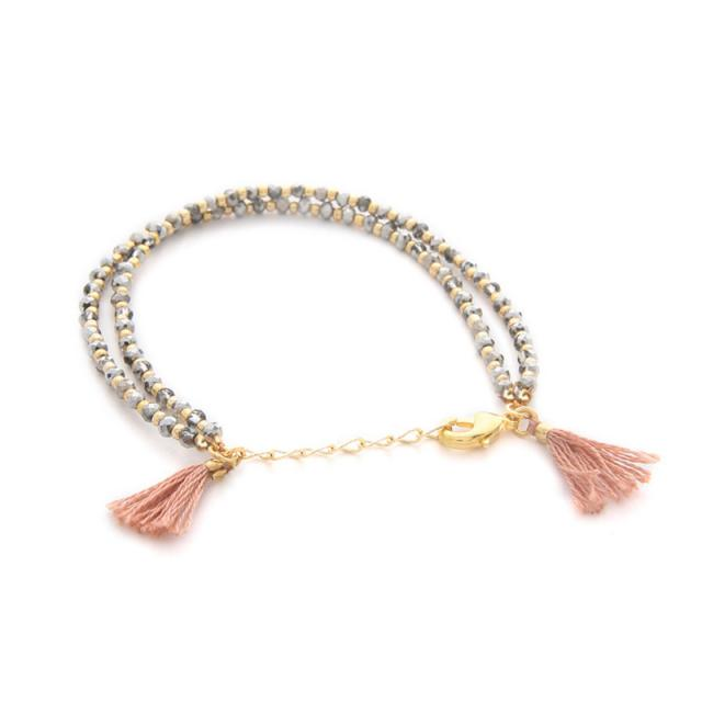 Beaded Tassel Duo Bracelet in Pink