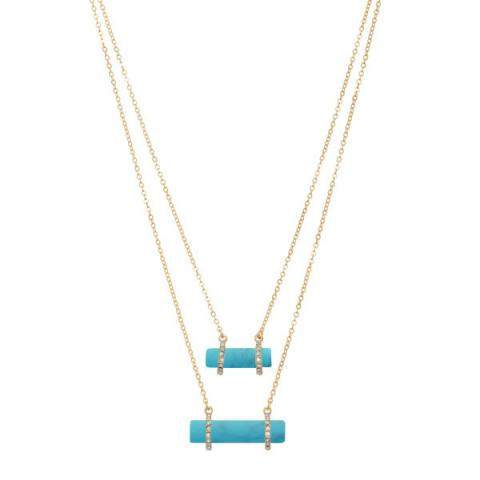 Duo Stone Layered Necklace in Turquoise