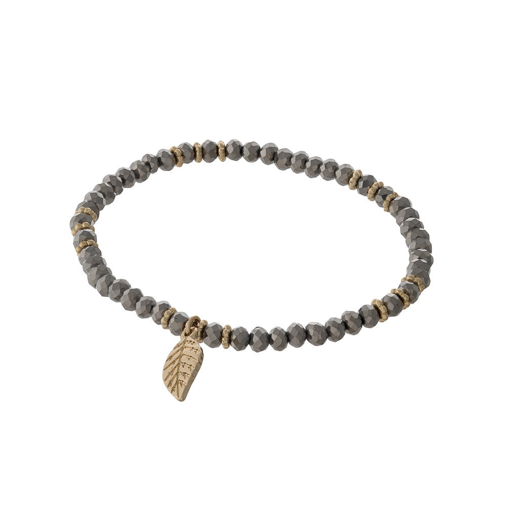 Beaded Feather Bracelet in Grey