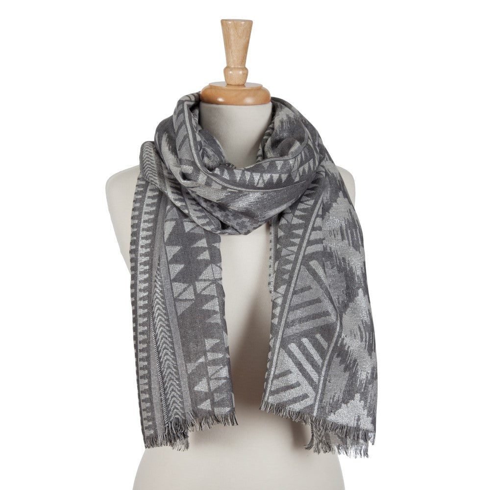 Tribal Pattern Scarf - Grey