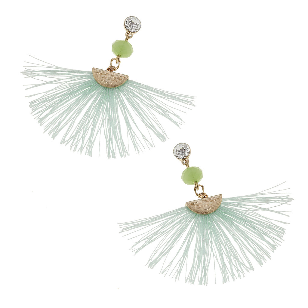 Accent Fringe Earrings in Green