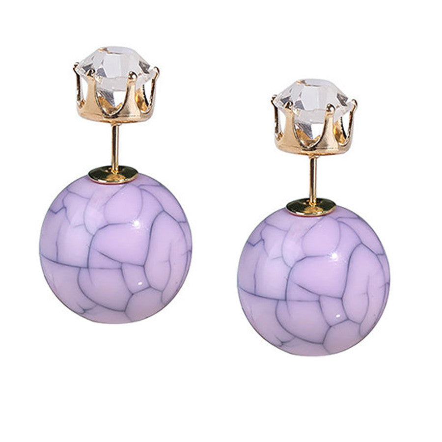 Double Sided Studs in Purple Marble