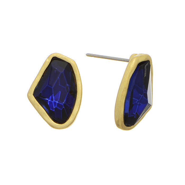 Gold-Rimmed Sapphire Earrings