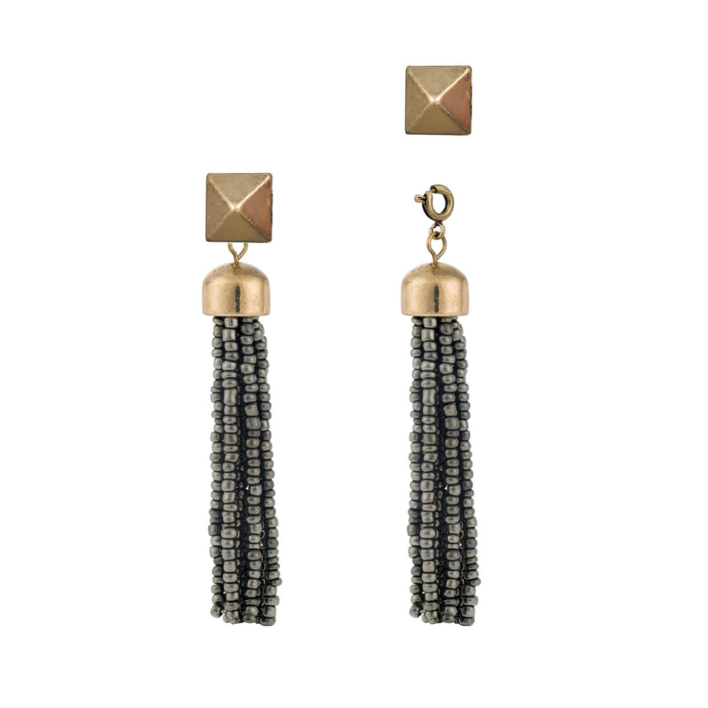 Convertible Tassel Earrings in Grey & Gold
