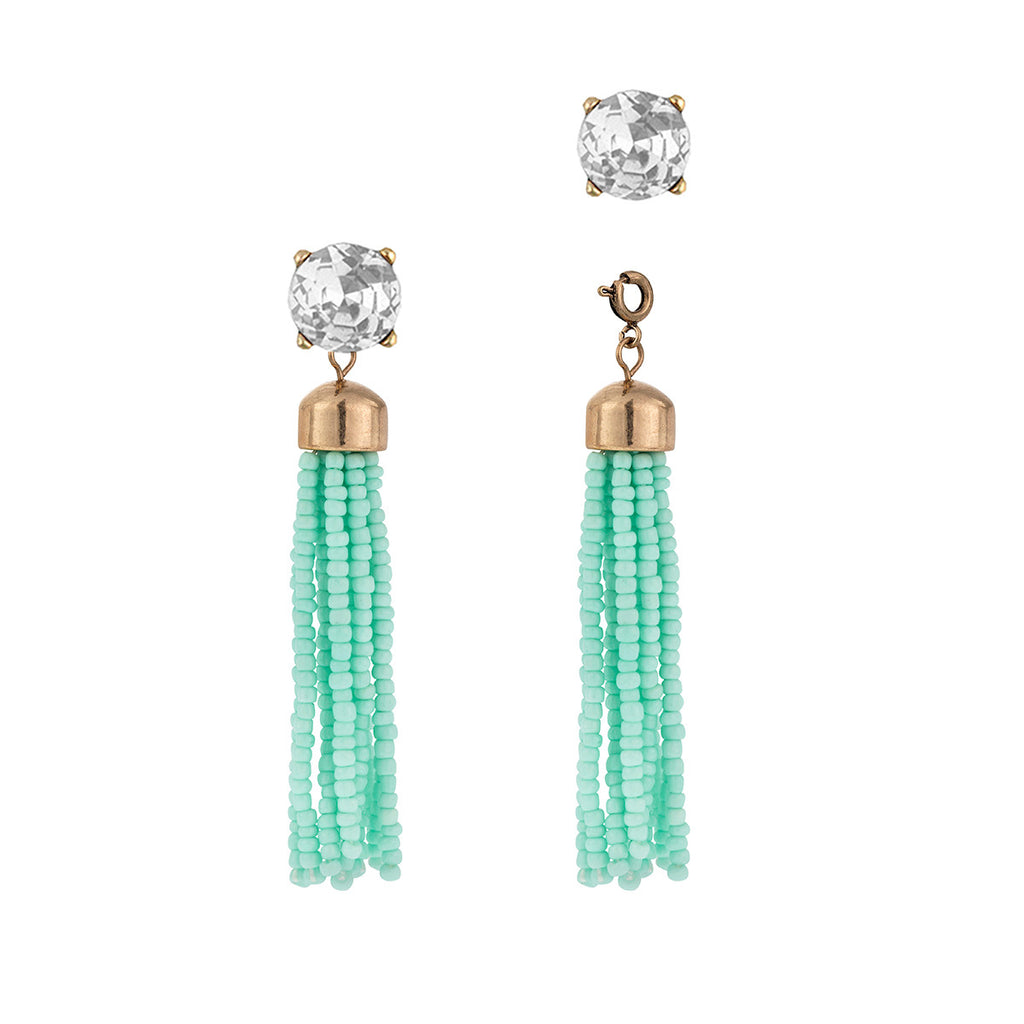 Convertible Tassel Earrings in Teal & Clear Vintage