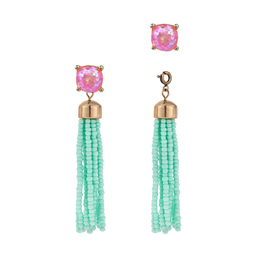 Convertible Tassel Earrings in Teal & Pink Glitter