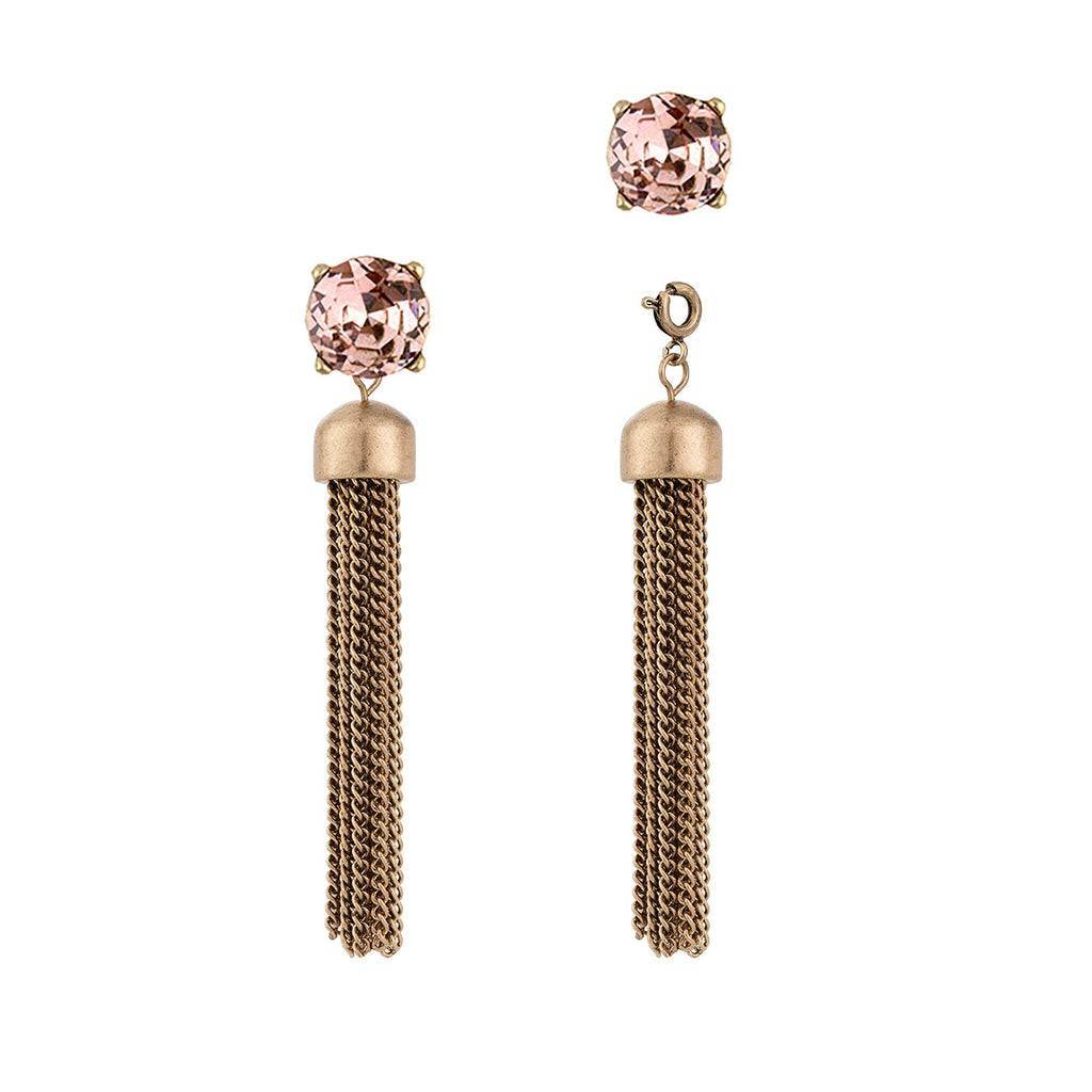 Convertible Tassel Earrings in Chain & Pink Vintage