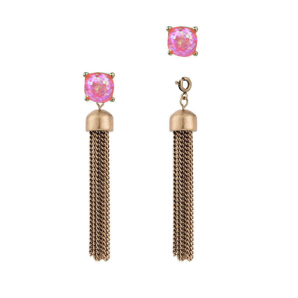 Convertible Tassel Earrings in Chain & Pink Glitter