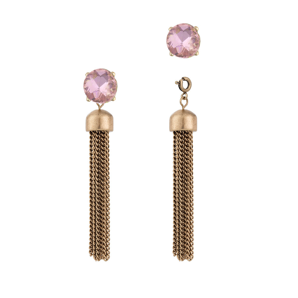 Convertible Tassel Earrings in Chain & Pink Gem