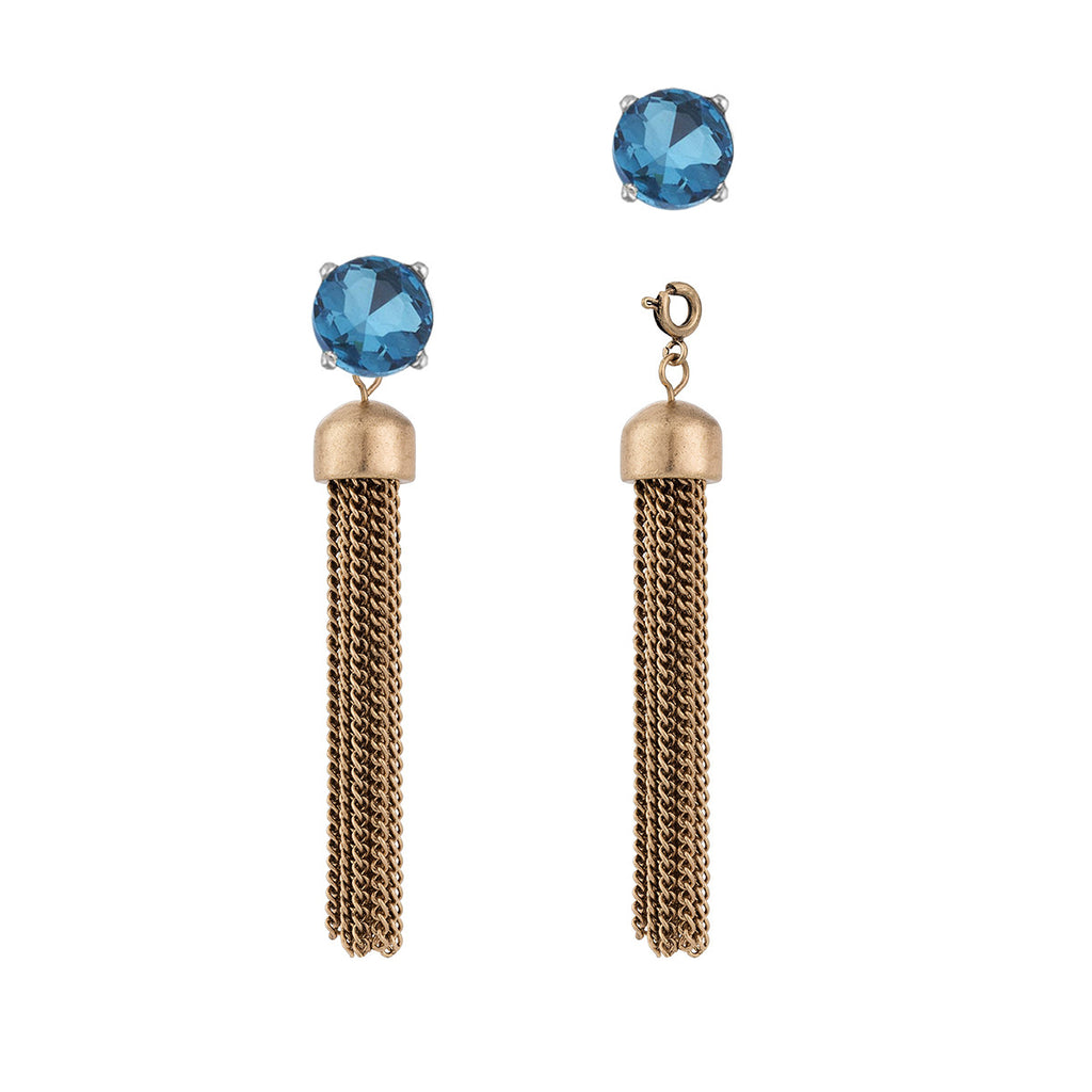 Convertible Tassel Earrings in Chain & Sky Blue