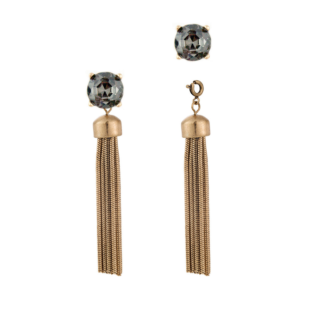 Convertible Tassel Earrings in Snake Chain & Grey Vintage