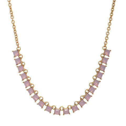 Square Opal Rhinestone Necklace in Pink
