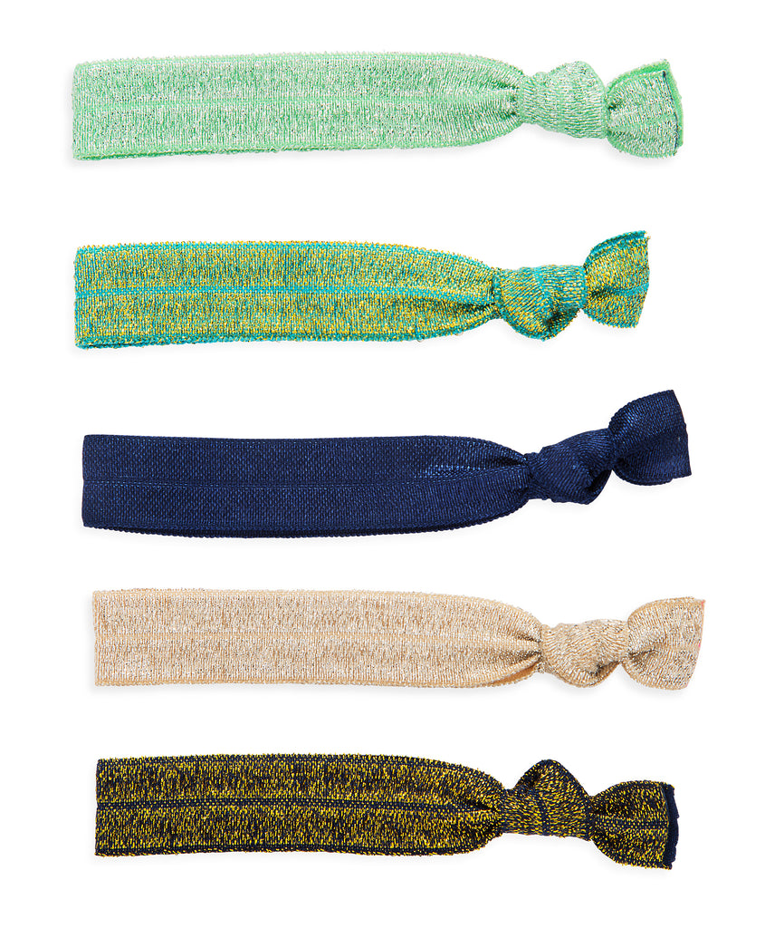 Hair Tie Set in Blue & Green