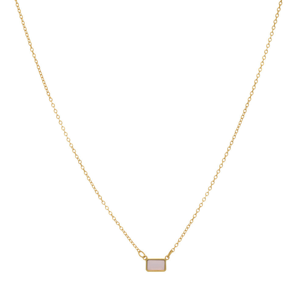 Tiny Pink Chalcedony Pendant Necklace + Gift Box