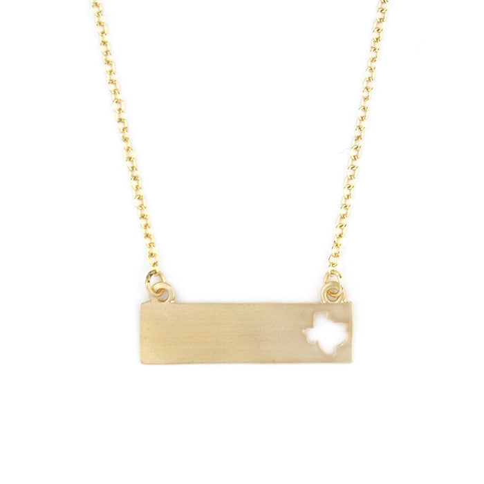 Texas Bar Cut-Out Necklace - Gold