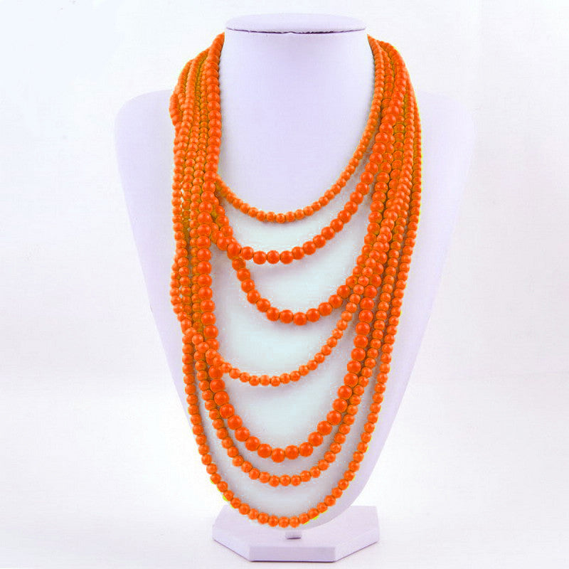 7 Strand Layered Necklace in Orange