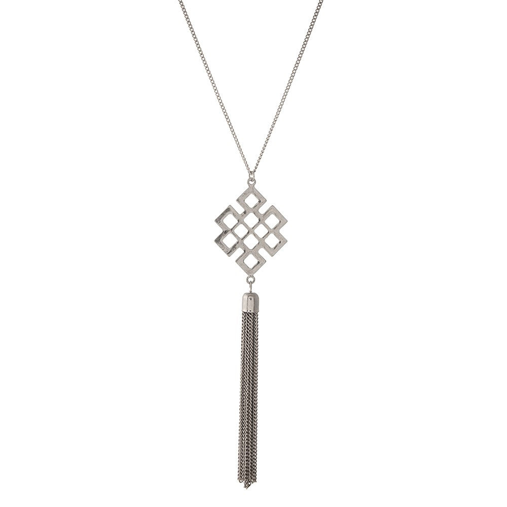 Diamond Cut-Out Necklace in Silver