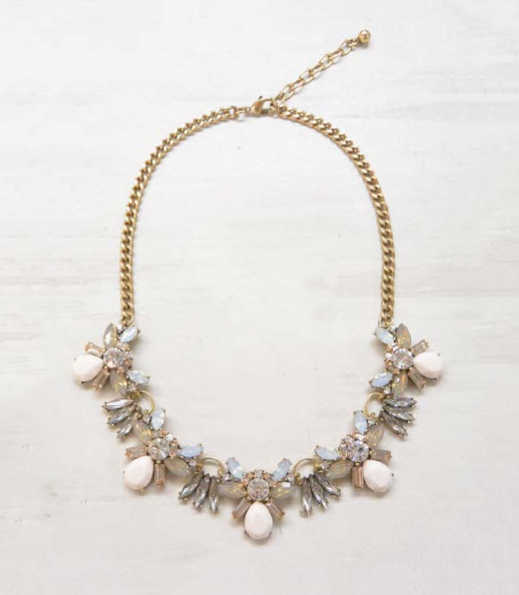 Cream and Pink Statement Necklace