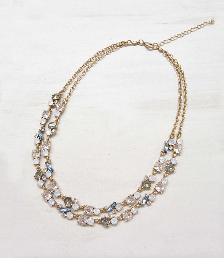 White Double Layer Statement Necklace