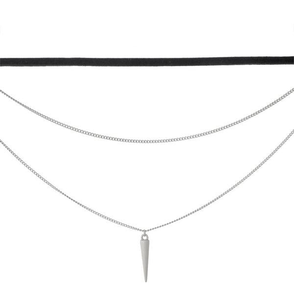 Triple Layer Choker with Spike Pendant