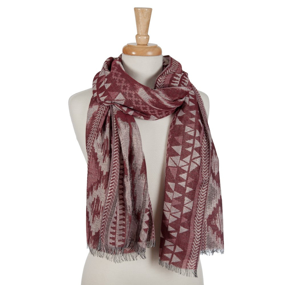 Tribal Pattern Scarf in Red