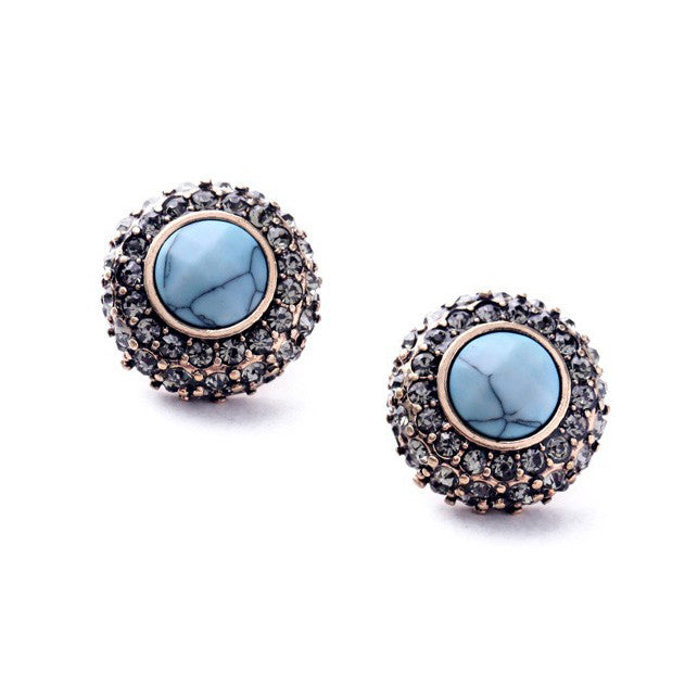 Rolled Pavè Turquoise Studs