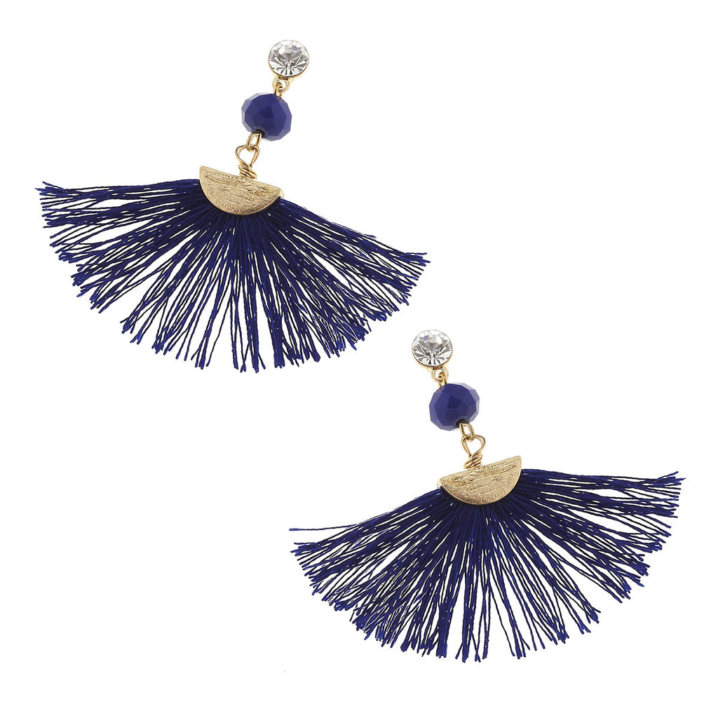 Accent Fringe Earrings - Blue