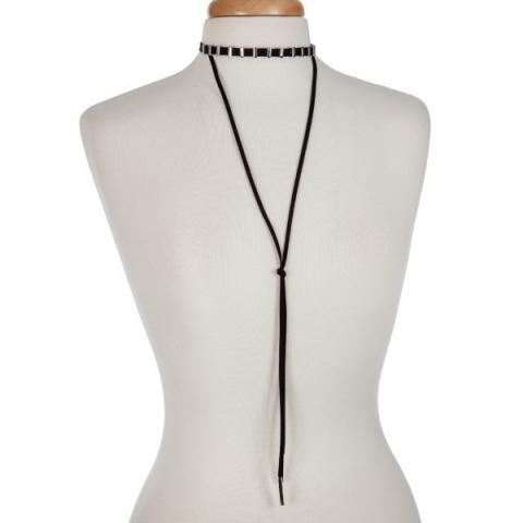 Layered Y Choker in Silver