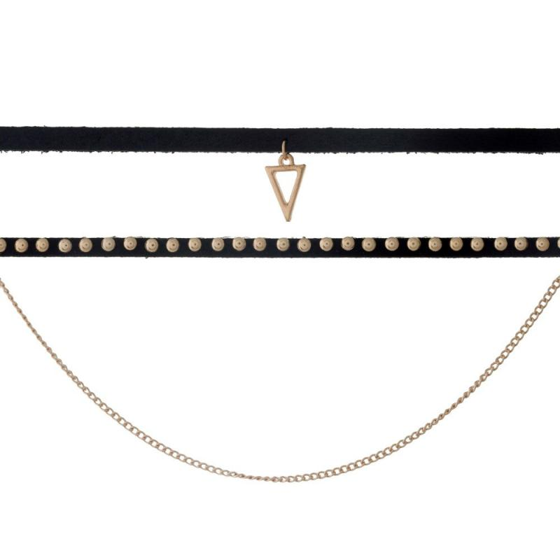 Layered Three Row Choker - Triangle Charm