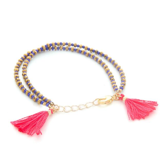 Beaded Tassel Duo Bracelet in Red