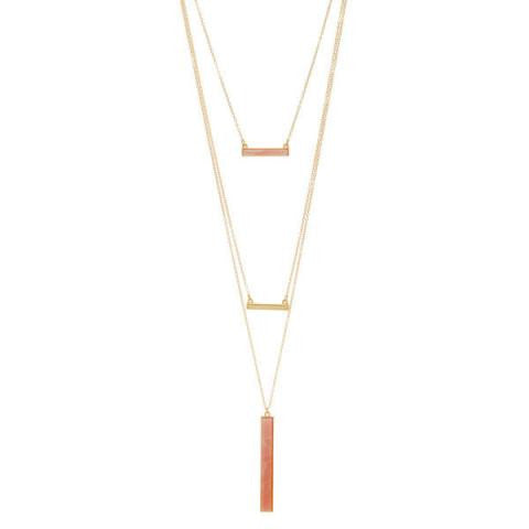 3 Pack - York Layered Necklace Set in Pink