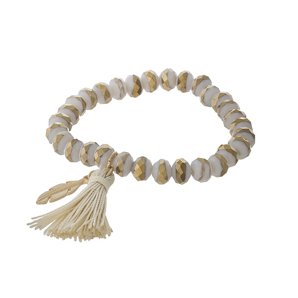 Clarissa Beaded Tassel Bracelet in Ivory