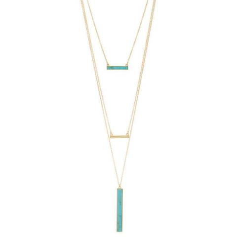 3 Pack - York Layered Necklace Set in Turquoise-Turquoise