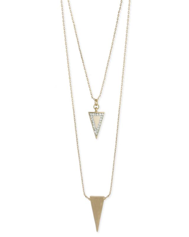 Layered Arrow Necklace in White