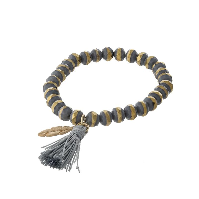 Clarissa Beaded Tassel Bracelet in Grey