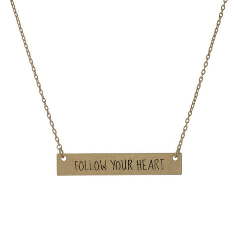 """Follow Your Heart"" Bar Necklace"