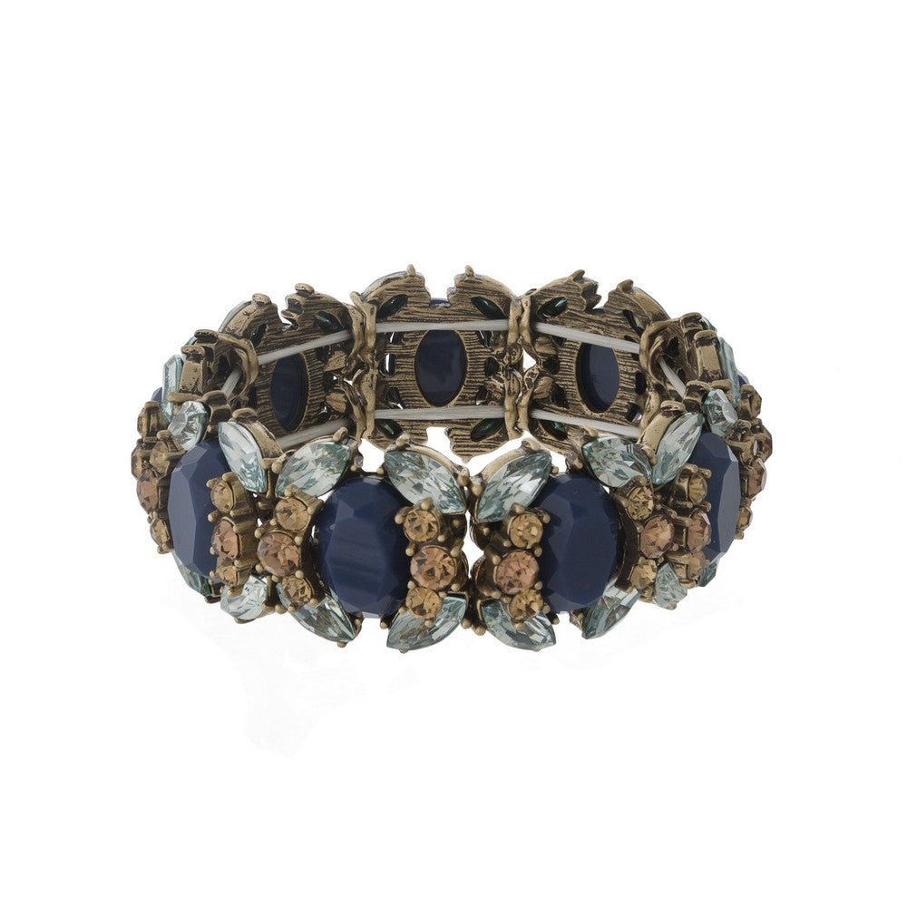 Rhinestone Stretch Bracelet - Navy