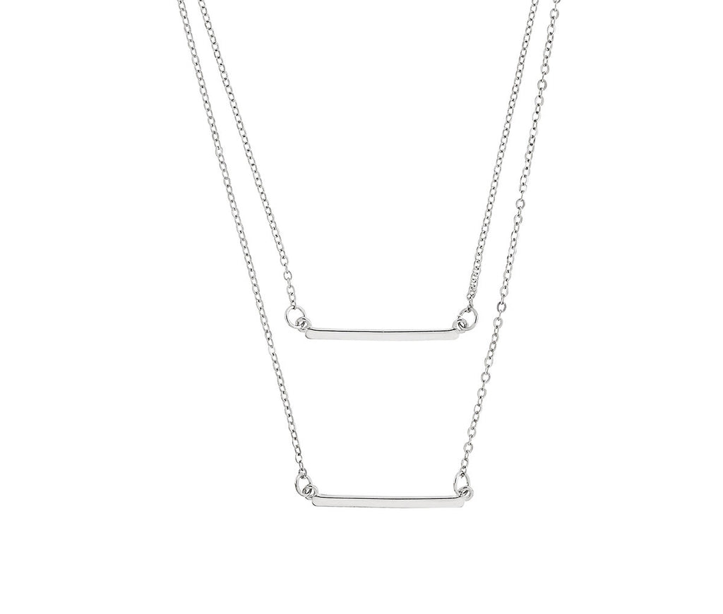 Layered Silver Bar Necklace